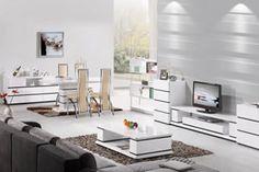 Stren Modern Furniture Collection White Gloss Tv Unit High Living