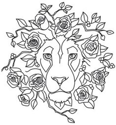Sketched roses surround the mane of this gorgeous lion. Stitch onto jackets, totes and more. Downloads as a PDF. Use pattern transfer paper to trace design for hand-stitching.