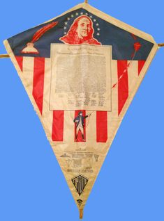 1976 Bicentennial Era Benjamin Franklin and Declaration of Independence Paper Kite. Maybe they didn't realize Ben didn't write it... hmmm, or is that a weak connection to Ben flying a kite.