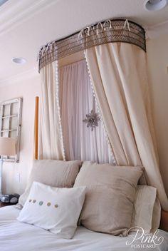 *Pink Postcard*: vintage bed crown- DIY. That bed crown looks like a fireplace fender turned upside down?