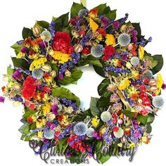 Dried Flower Wreaths - French Country Style for your home or office.
