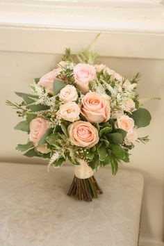 Bouquet of roses, spray roses, astilbe waxflower and foliage. Bouquet of roses, spray roses, astilbe waxflower and foliage. White Wedding Bouquets, Bride Bouquets, Flower Bouquet Wedding, Rose Wedding, Bridesmaid Bouquet, Floral Wedding, Wedding Castle, Green Wedding, Astilbe Bouquet