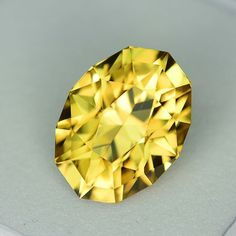 MJ2024 - 5.13ct yellow Zircon - Tanzania 11.14 x 8.32 x 6.47 mm clean, custom cut, standard heat, $495 shipped