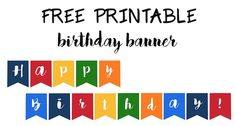 Happy Birthday Banner Free Printable - Paper Trail Design - Happy Birthday Banner free printable easy decor for a birthday party. Just print and hang to add in - Happy Birthday Banner Printable, Printable Birthday Banner, Happy New Year Banner, Free Printable Banner, Birthday Template, Happy Birthday Banners, Templates Printable Free, Free Printables, Birthday Cards