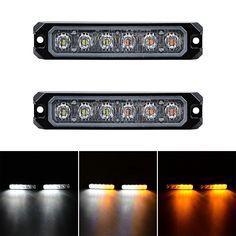 Amazon.com: 30W IP68 6-LED Emergency Warning SYNC Strobe Light Surface Mount Car Truck 12V-24V (2pcs, White & Amber) Strobe Light, Strobing, Bar Lighting, Amber, Surface, Trucks, Lights, Led, Amazon
