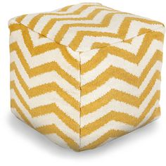 Surya Zig Zag Pouf - Sunflower ($275) ❤ liked on Polyvore featuring home, furniture, ottomans, chevron furniture, patterned ottoman, ivory furniture, cream ottoman and gold furniture