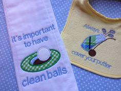 Humorous Baby Boy Bib and burp cloth set golf themed by MamaBern, $15.00
