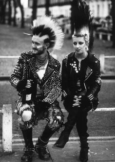 punk fashion - mohawk, leather, studs, etc.