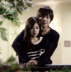 Playful Kiss Kim Hyun Joong as Baek Seung Jo. Jung So Min as Oh Ha Ni one of my fav k-dramas Playful Kiss, Jung So Min, Korean Celebrities, Korean Actors, Korean Dramas, Live Action, Two Worlds, Baek Seung Jo, Back Hug