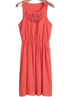 Red Sleeveless Hollow Pleated Chiffon Dress US$20.79