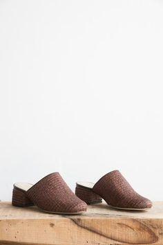 Samuji Dark Brown Basket Weaved Slip-on Mules | Oroboro Store | Brooklyn, New York