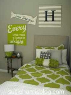 Lime green and grey bedroom - too much white but like the general ...