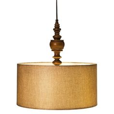 Mudhut™ Turned Plug-In Pendant Lamp with Natural Linen Shade