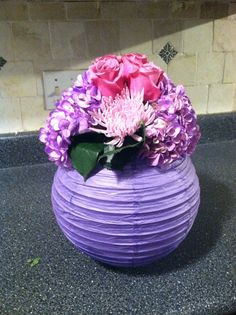 Paper lantern with flowers