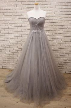 On Sale Popular Prom Dresses Long, Gray Sweetheart Neck Tulle Long Prom Dress, Gray Evening Dress Grey Party Dresses, Grey Evening Dresses, Grey Prom Dress, Junior Prom Dresses, Open Back Prom Dresses, Simple Prom Dress, Unique Prom Dresses, Prom Dresses 2018, Tulle Prom Dress