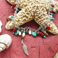 SS coral, turquoise, feather... necklace