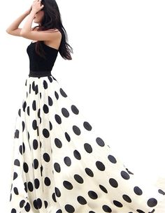 Women's Black and White Dot Chiffon Maxi Full-length Big Hem Beach Dress.  I love how long & flowing the dress is,  and I especially like that the top is like a tank top. Much better for women that are bigger on top.