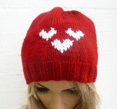 Hand Knitted Hat Heart Beanie Hat Women's by Clickclackknits