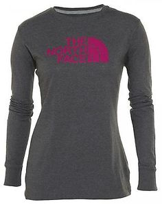 North Face Half Dome Long Sleeve Tee Womens CG9R-CMD Grey Pink T-Shirt Size S