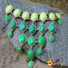 """Fabulous to wear on the beach or in the city our very own """"OVAL JEWEL CHAIN""""necklace, for only $ 26.#Necklace #Collar #India #Treasures #TreasureHunt #Tibet #Tibetan #Turquoise #TibetanCoral #StatementJewelry #Jewelry #IndianJewelry #IndianTreasures #Gold #Beads #Hippie #Luvgypsy #Boho #Gypsy #Tribal #Summer #Hippie #VibrantColors #BohoChic #Bohemian #IslandInspired #OvalJewel #ShadesOfGreen"""
