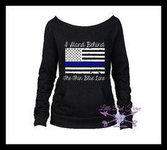 Thin Blue Line Flag Sweatshirt Police Support by LittleButFierceCo