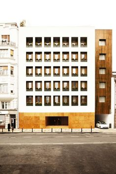 Completed in 2011 in Belgrade, Serbia. Images by Matthieu Salvaing. Square Nine Hotel is located in Belgrade's historic quarter, across from Students Square (Studentski Trg). Its architecture, of remarkably modern. Hotel Architecture, Architecture Design, Building Architecture, Building Facade, Belgrade Serbia, Resorts, Facade Design, Exterior Design, Interior And Exterior