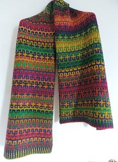 Mosaic pattern makes the most of Noro's spectacular color runs.