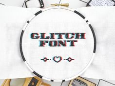 Cross stitch quote FONT GLITCH contemporary stitching alphabet pattern, hand embroidery instant download guide, letters number symbol chart by hallodribums on Etsy https://www.etsy.com/ca/listing/398388551/cross-stitch-quote-font-glitch