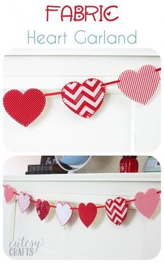 Fabric Heart Garland - A cute valentine craft idea! : Fabric Heart Garland - A cute valentine craft idea! Valentine's Day Crafts For Kids, Sewing Projects For Kids, Family Crafts, Valentines Day Decorations, Valentine Day Crafts, Holiday Crafts, Valentine Ideas, Holiday Decor, Valentinstag Party