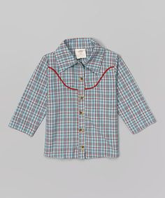 Loving this Sky Blue Plaid Organic Button-Up - Infant, Toddler & Boys on #zulily! #zulilyfinds
