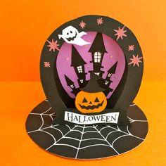 飾って楽しいラウンド型卓上ハロウィンカード(城とかぼちゃ) | ハンドメイドマーケット minne