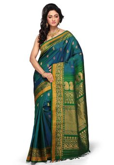 Blue and Green Shot Tone Pure Gadwal Handloom Silk Saree with B