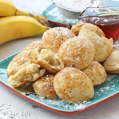 Banana Ebelskivers - because It's Summer Vacation!  Have you ever had an ebilskiver??  Kind of like a little round pancake, these beauties are filled with sauteed banana and brown sugar.  #LOVE