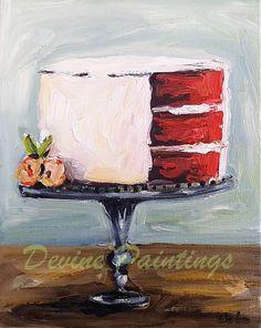 Red Velvet Cake Oil Painting by DevinePaintings on Etsy, $88.00