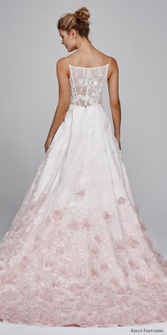 kelly faetanini fall 2017 sleeveless vneck silk organz petal embellished skirt blush ombre ball gown wedding dress (willow) bv long train