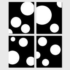 Playful Modern Geometric Circles Art Quad  Set of Four by Tessyla, $65.00