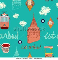 Vector Istanbul city pattern.  - stock vector