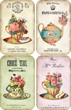 Vintage inspired tea company cup  scrapbooking crafts ATC altered art set 8…