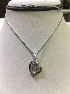 Diamond heart necklace in white gold. Available for $850. #YadavDiamonds