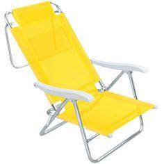 O QUE: Cadeira de Praia QUANTO: R$116,91 ONDE: http://www.americanas.com.br/produto/354104/cadeira-de-praia-mor-sol-de-verao-amarela