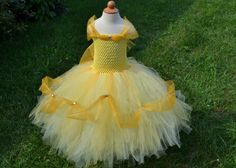 Disney PRINCESS BELLE inspired tutu dress from Beauty and the Beast perfect for a Halloween costume, dress up, birthday party or photo shoot