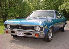 1972 Chevrolet Nova SS V8 Blue K Code Coupe For Sale Front