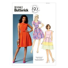 Butterick 5982 Easy to Make Petite Belt Bow V-Neck Dress Pattern Easy Sewing Patterns, Mccalls Patterns, Vintage Sewing Patterns, Dress Patterns, Sewing Ideas, Sewing Projects, Sewing Box, Clothing Patterns, Corsage