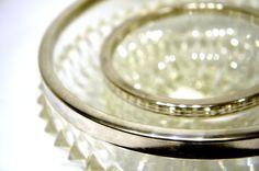 Diamond Cut Brilliant Glass Bowls with Silver Plate Rim