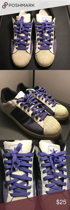 Adidas 3 tone. Purple, white, black. Need a little cleaning but still have life left in them. Adidas Shoes Sneakers