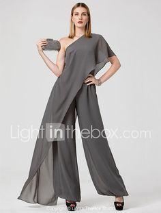 Mono Un Hombro Hasta el Suelo Raso Evento Formal Vestido con Plisado por TS Couture® 2018 - $116.99