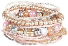 Pink mixed bead bracelet