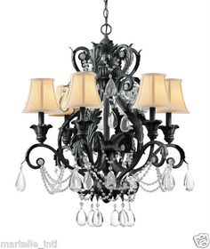 Crystal Chandelier Black Rust Hand painted  Wrought Iron Lead 29 New Free ship
