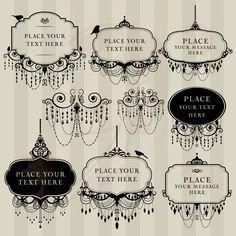 Digital Clip Art Frame Chandelier Vintage DIY Wedding Invitation Scrapbook Calligraphy Victorian Design Transparent Black Middles 10454