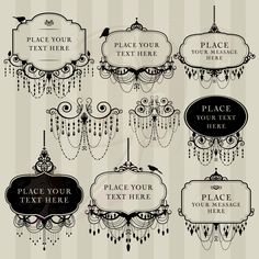 Digital Clip Art Frame Chandelier Vintage DIY Wedding Invitation Scrapbook Calligraphy Victorian Design Transparent Black Middles 10454